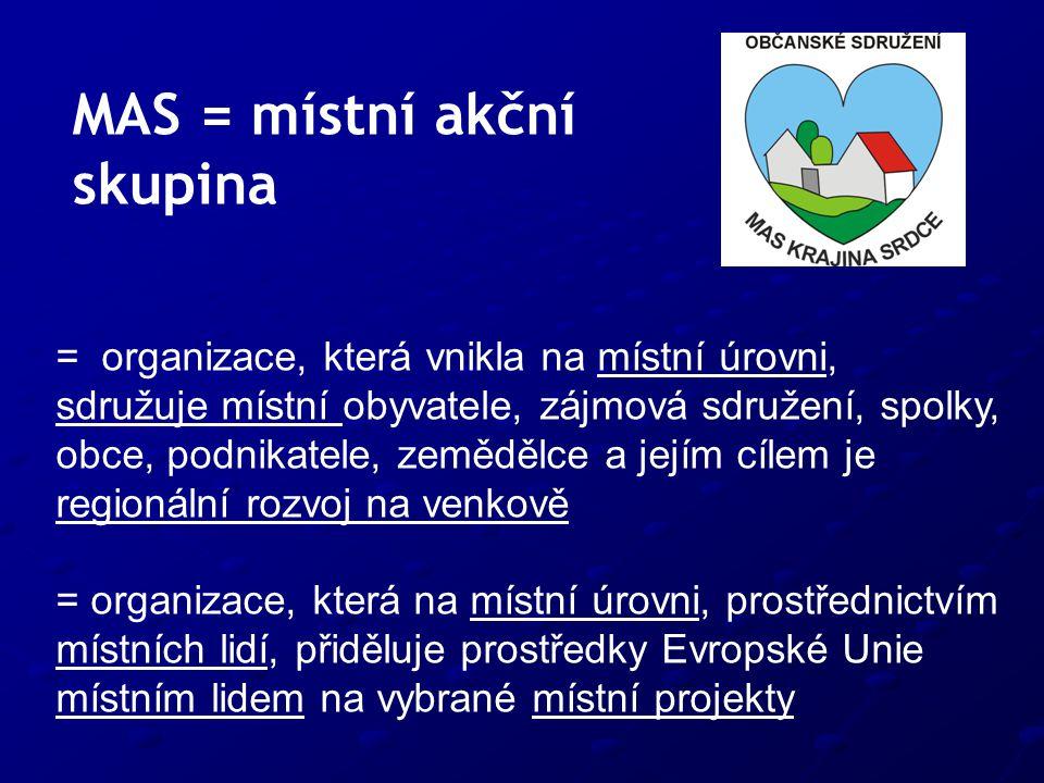 MAS = místní akční skupina = organizace, která vnikla na místní úrovni, sdružuje místní obyvatele, zájmová sdružení, spolky, obce, podnikatele, zemědělce a jejím cílem je regionální rozvoj na venkově = organizace, která na místní úrovni, prostřednictvím místních lidí, přiděluje prostředky Evropské Unie místním lidem na vybrané místní projekty