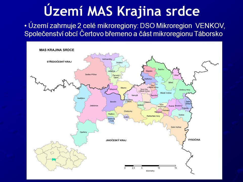 Území MAS Krajina srdce Území zahrnuje 2 celé mikroregiony: DSO Mikroregion VENKOV, Společenství obcí Čertovo břemeno a část mikroregionu Táborsko