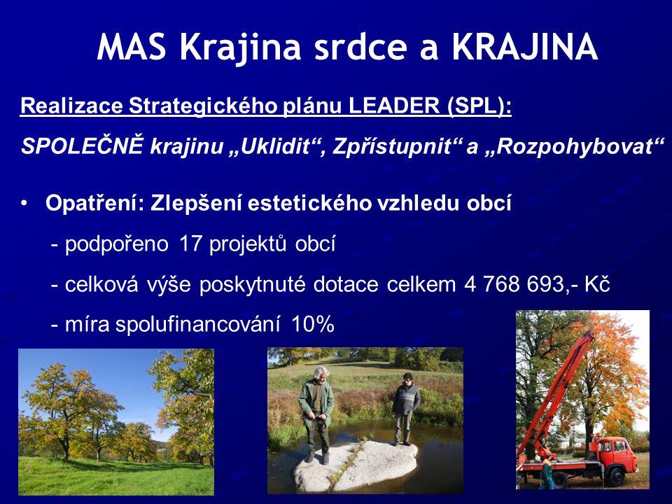 """MAS Krajina srdce a KRAJINA Realizace Strategického plánu LEADER (SPL): SPOLEČNĚ krajinu """"Uklidit , Zpřístupnit a """"Rozpohybovat Opatření: Zlepšení estetického vzhledu obcí - podpořeno 17 projektů obcí - celková výše poskytnuté dotace celkem 4 768 693,- Kč - míra spolufinancování 10%"""