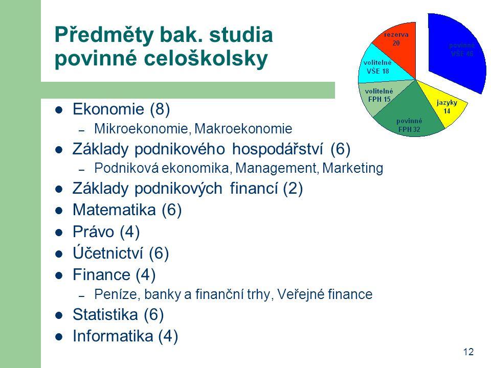 12 Předměty bak. studia povinné celoškolsky Ekonomie (8) – Mikroekonomie, Makroekonomie Základy podnikového hospodářství (6) – Podniková ekonomika, Ma
