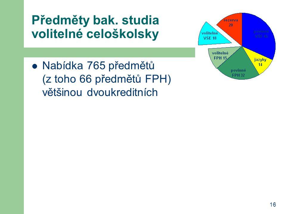 16 Předměty bak. studia volitelné celoškolsky Nabídka 765 předmětů (z toho 66 předmětů FPH) většinou dvoukreditních