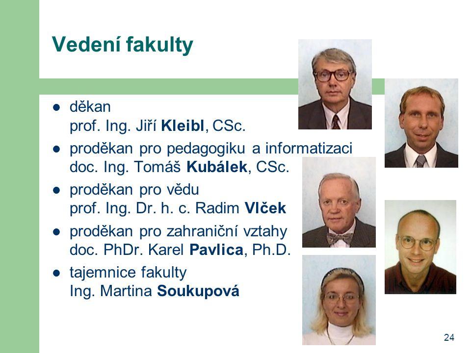24 Vedení fakulty děkan prof. Ing. Jiří Kleibl, CSc.