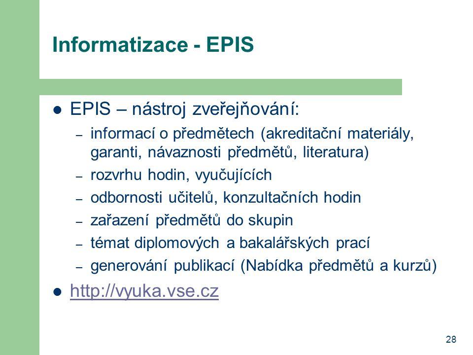 28 Informatizace - EPIS EPIS – nástroj zveřejňování: – informací o předmětech (akreditační materiály, garanti, návaznosti předmětů, literatura) – rozvrhu hodin, vyučujících – odbornosti učitelů, konzultačních hodin – zařazení předmětů do skupin – témat diplomových a bakalářských prací – generování publikací (Nabídka předmětů a kurzů) http://vyuka.vse.cz