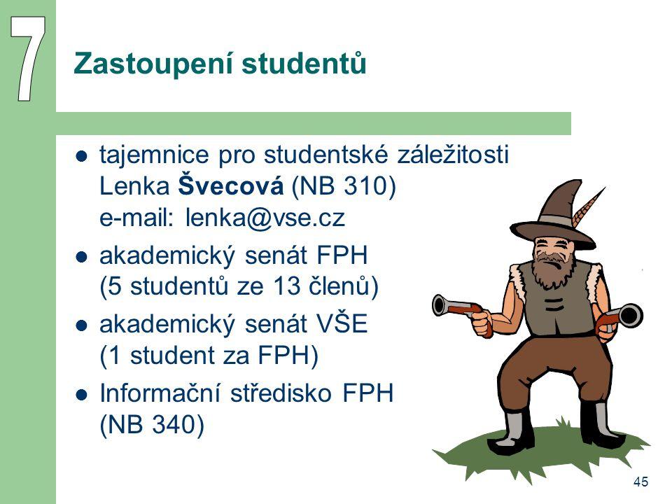 45 Zastoupení studentů tajemnice pro studentské záležitosti Lenka Švecová (NB 310) e-mail: lenka@vse.cz akademický senát FPH (5 studentů ze 13 členů) akademický senát VŠE (1 student za FPH) Informační středisko FPH (NB 340)