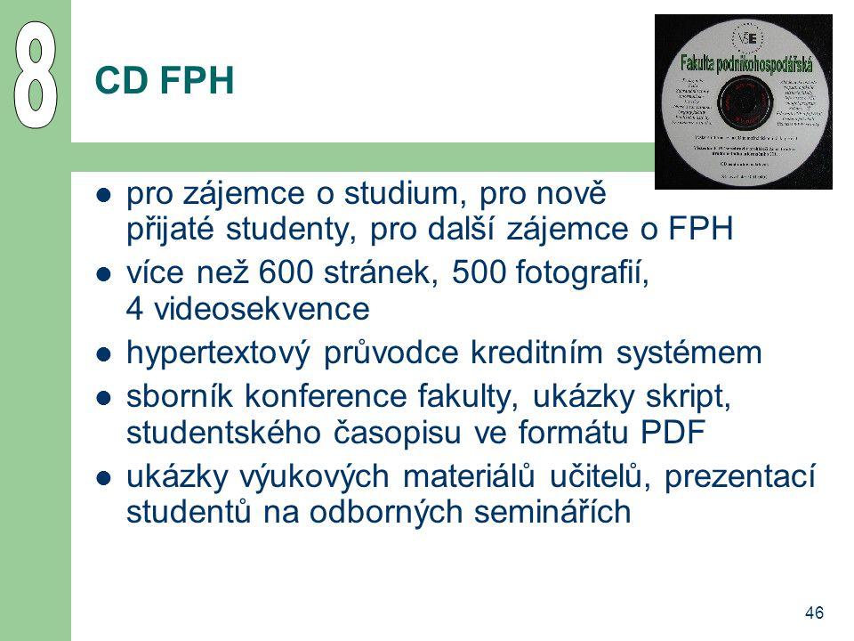 46 CD FPH pro zájemce o studium, pro nově přijaté studenty, pro další zájemce o FPH více než 600 stránek, 500 fotografií, 4 videosekvence hypertextový průvodce kreditním systémem sborník konference fakulty, ukázky skript, studentského časopisu ve formátu PDF ukázky výukových materiálů učitelů, prezentací studentů na odborných seminářích