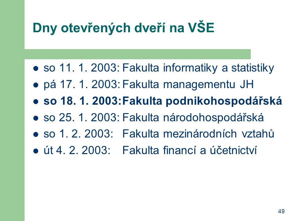 49 Dny otevřených dveří na VŠE so 11. 1. 2003:Fakulta informatiky a statistiky pá 17. 1. 2003:Fakulta managementu JH so 18. 1. 2003:Fakulta podnikohos