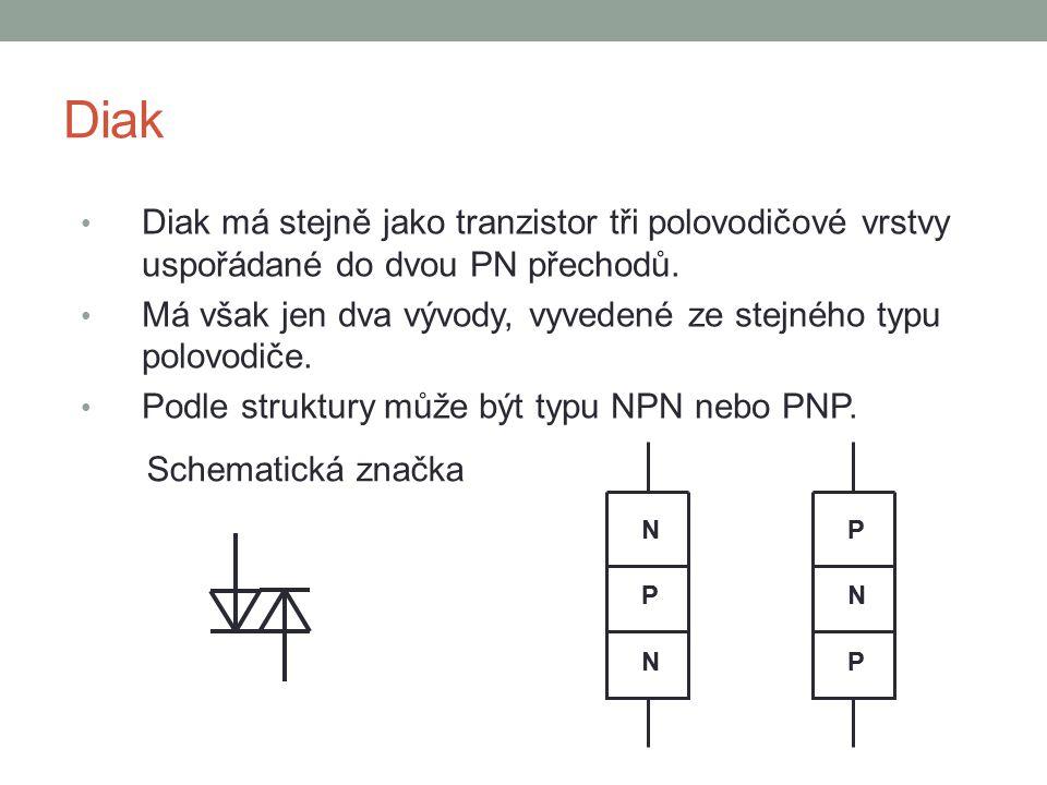 Diak Diak má stejně jako tranzistor tři polovodičové vrstvy uspořádané do dvou PN přechodů. Má však jen dva vývody, vyvedené ze stejného typu polovodi