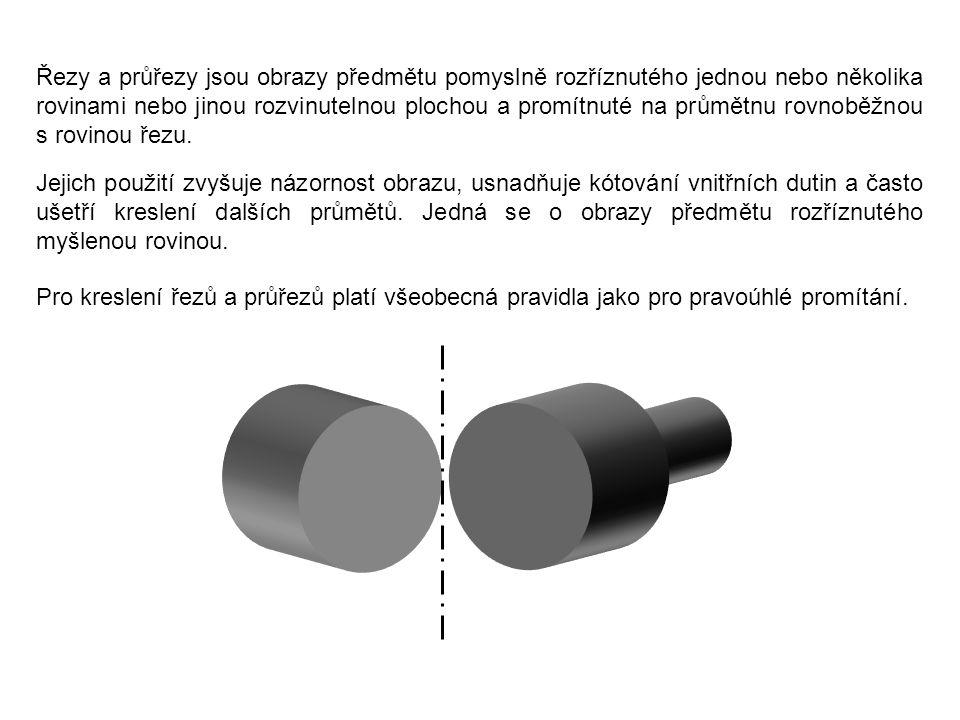 Řezy a průřezy jsou obrazy předmětu pomyslně rozříznutého jednou nebo několika rovinami nebo jinou rozvinutelnou plochou a promítnuté na průmětnu rovnoběžnou s rovinou řezu.