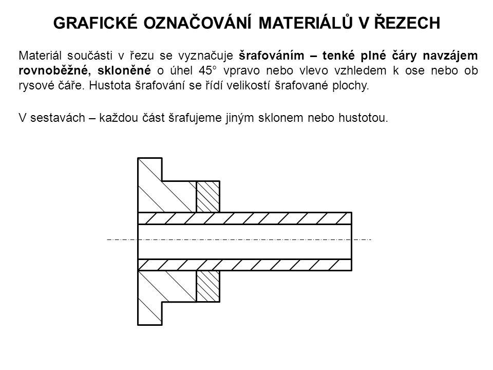 GRAFICKÉ OZNAČOVÁNÍ MATERIÁLŮ V ŘEZECH Materiál součásti v řezu se vyznačuje šrafováním – tenké plné čáry navzájem rovnoběžné, skloněné o úhel 45° vpravo nebo vlevo vzhledem k ose nebo ob rysové čáře.