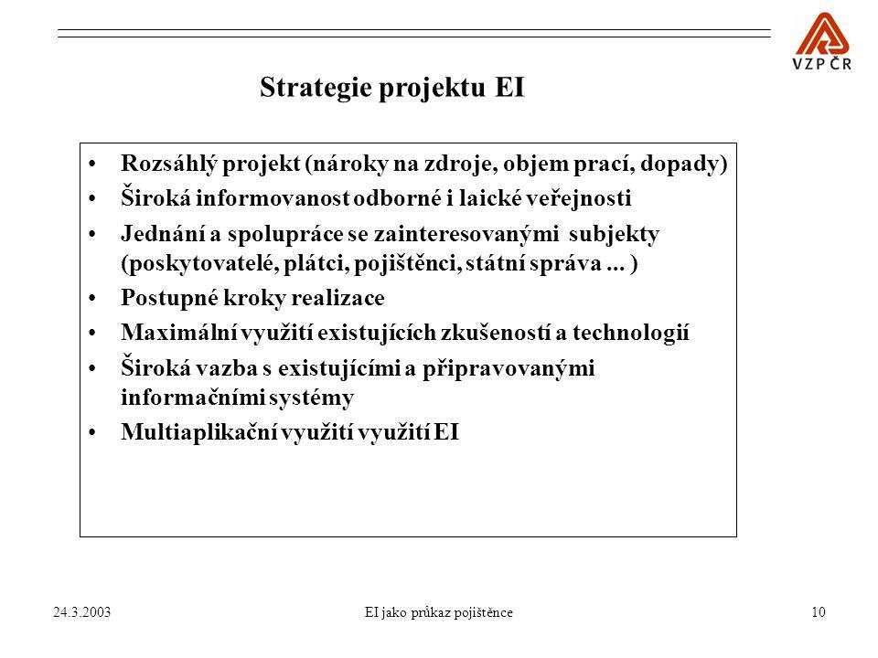 24.3.2003EI jako průkaz pojištěnce10 Strategie projektu EI Rozsáhlý projekt (nároky na zdroje, objem prací, dopady) Široká informovanost odborné i laické veřejnosti Jednání a spolupráce se zainteresovanými subjekty (poskytovatelé, plátci, pojištěnci, státní správa...