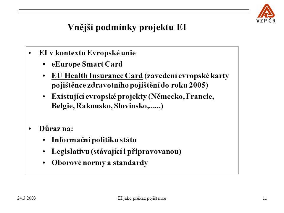 24.3.2003EI jako průkaz pojištěnce11 Vnější podmínky projektu EI EI v kontextu Evropské unie eEurope Smart Card EU Health Insurance Card (zavedení evropské karty pojištěnce zdravotního pojištění do roku 2005) Existující evropské projekty (Německo, Francie, Belgie, Rakousko, Slovinsko,......) Důraz na: Informační politiku státu Legislativu (stávající i připravovanou) Oborové normy a standardy