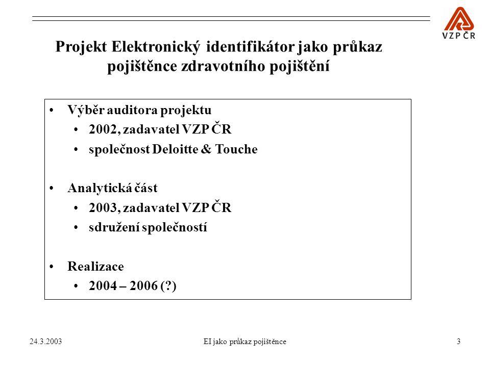 24.3.2003EI jako průkaz pojištěnce4 Řešitel analytické fáze projektu EI Bull, s.r.o.,Compaq Computer, s.r.o., Český Telecom, a.s.,Econsult, s.r.o., Hewlett-Packard s.r.o.,KPMG, s.r.o., Microsoft, s.r.o.,OKsystem, s.r.o., Stapro, s.r.o., Státní tiskárna cenin, s.p.