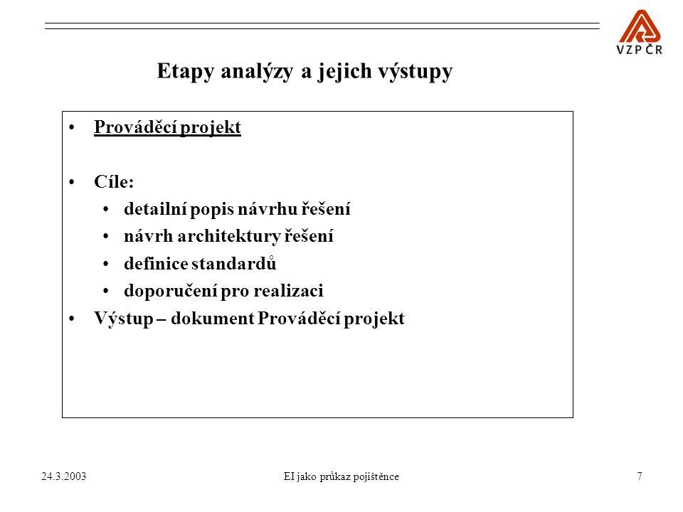24.3.2003EI jako průkaz pojištěnce7 Prováděcí projekt Cíle: detailní popis návrhu řešení návrh architektury řešení definice standardů doporučení pro realizaci Výstup – dokument Prováděcí projekt Etapy analýzy a jejich výstupy