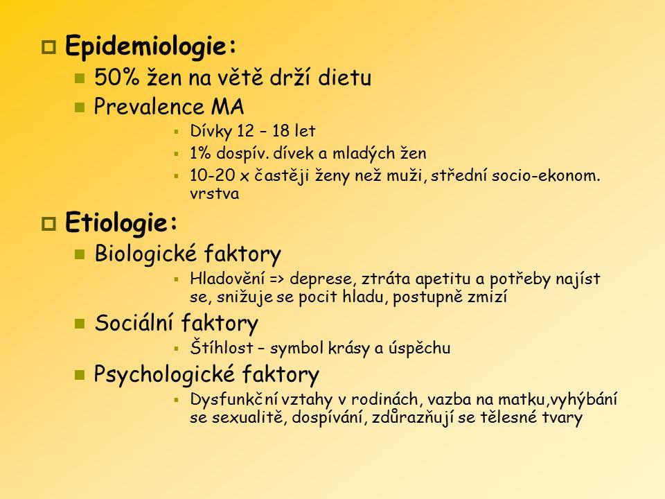  Epidemiologie: 50% žen na větě drží dietu Prevalence MA  Dívky 12 – 18 let  1% dospív. dívek a mladých žen  10-20 x častěji ženy než muži, středn
