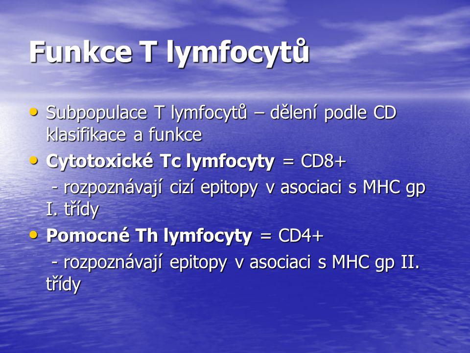 Funkce T lymfocytů Subpopulace T lymfocytů – dělení podle CD klasifikace a funkce Subpopulace T lymfocytů – dělení podle CD klasifikace a funkce Cytot