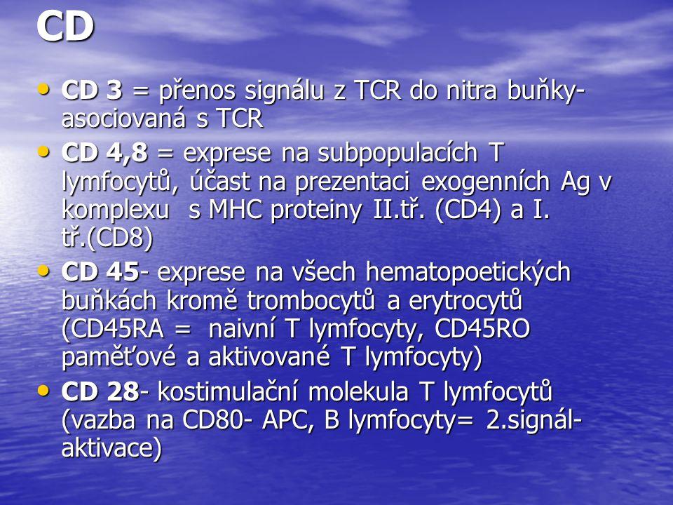 CD CD 3 = přenos signálu z TCR do nitra buňky- asociovaná s TCR CD 3 = přenos signálu z TCR do nitra buňky- asociovaná s TCR CD 4,8 = exprese na subpo