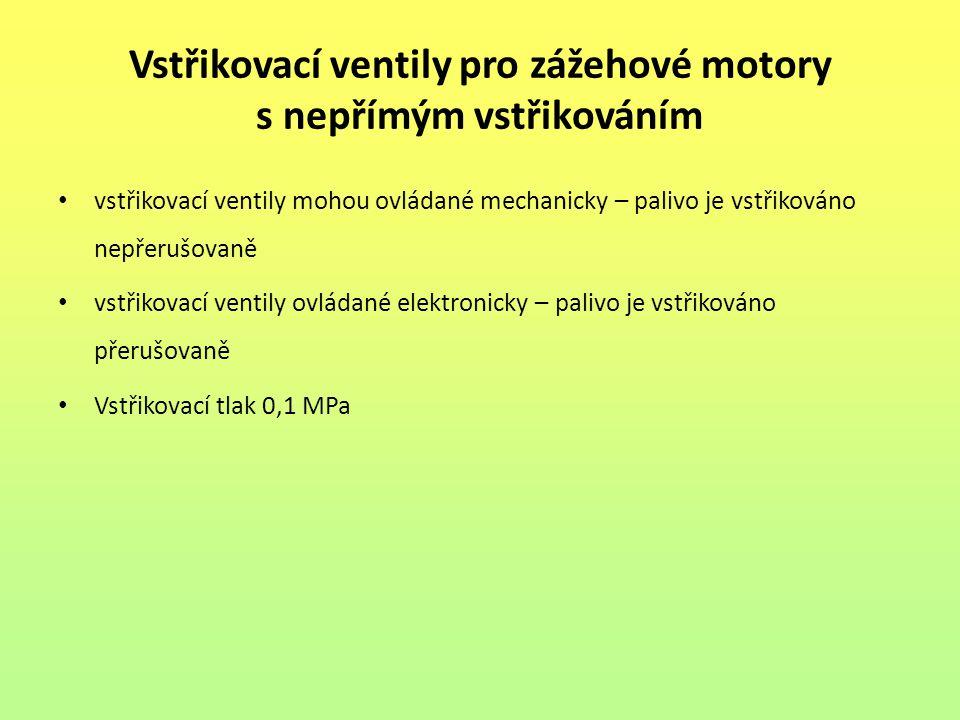 Vstřikovací ventily pro zážehové motory s nepřímým vstřikováním vstřikovací ventily mohou ovládané mechanicky – palivo je vstřikováno nepřerušovaně vs