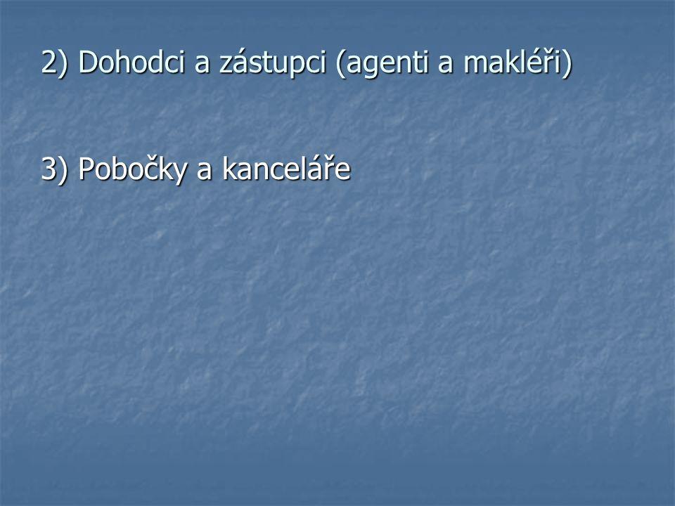 2) Dohodci a zástupci (agenti a makléři) 3) Pobočky a kanceláře