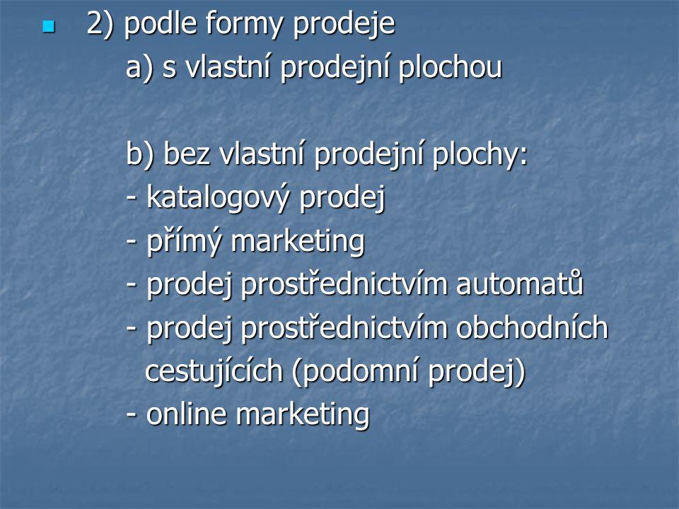 2) podle formy prodeje 2) podle formy prodeje a) s vlastní prodejní plochou a) s vlastní prodejní plochou b) bez vlastní prodejní plochy: b) bez vlast