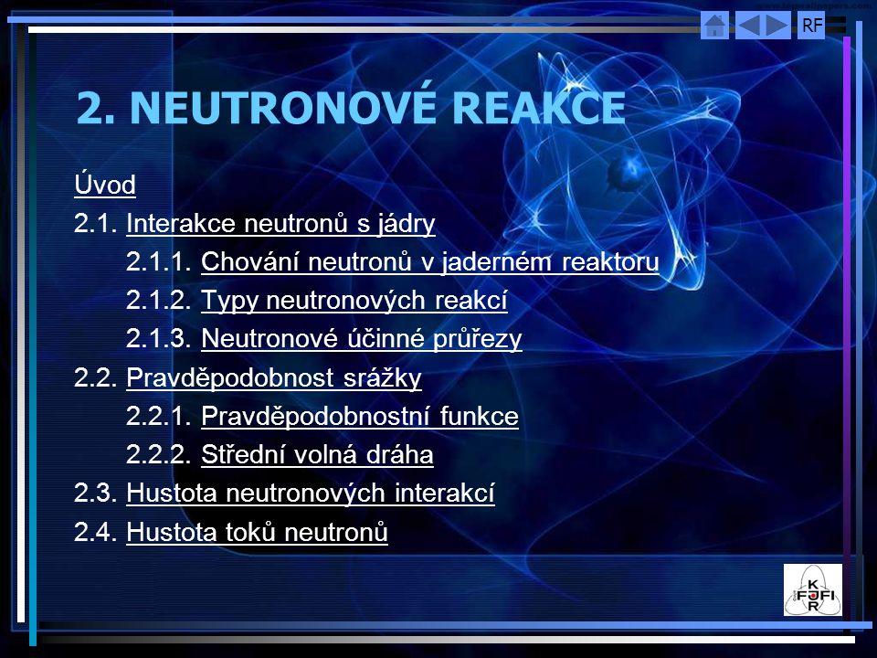 RF 2. NEUTRONOVÉ REAKCE Úvod 2.1. Interakce neutronů s jádryInterakce neutronů s jádry 2.1.1. Chování neutronů v jaderném reaktoruChování neutronů v j