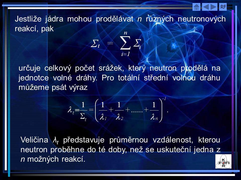 RF Jestliže jádra mohou prodělávat n různých neutronových reakcí, pak určuje celkový počet srážek, který neutron prodělá na jednotce volné dráhy. Pro