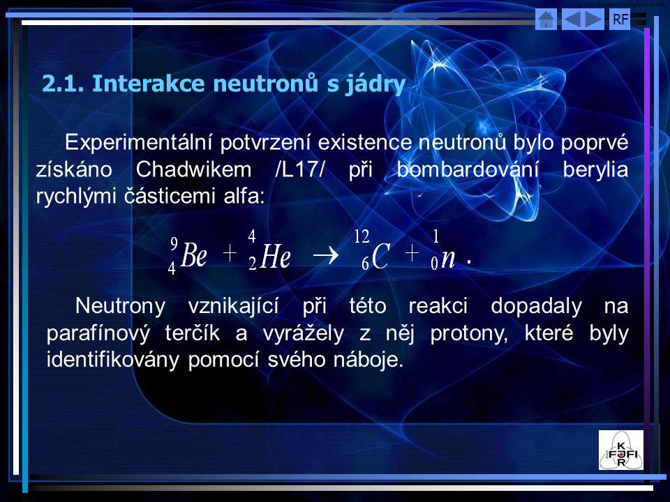 RF Experimentální potvrzení existence neutronů bylo poprvé získáno Chadwikem /L17/ při bombardování berylia rychlými částicemi alfa: Neutrony vznikají