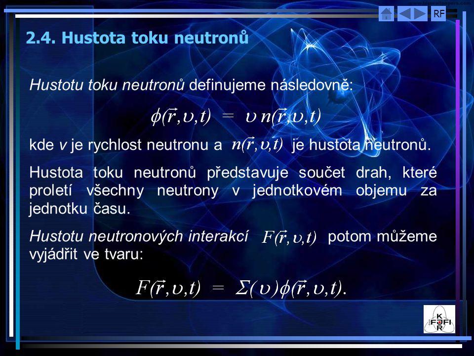 RF 2.4. Hustota toku neutronů Hustotu toku neutronů definujeme následovně: kde ν je rychlost neutronu a je hustota neutronů. Hustota toku neutronů pře