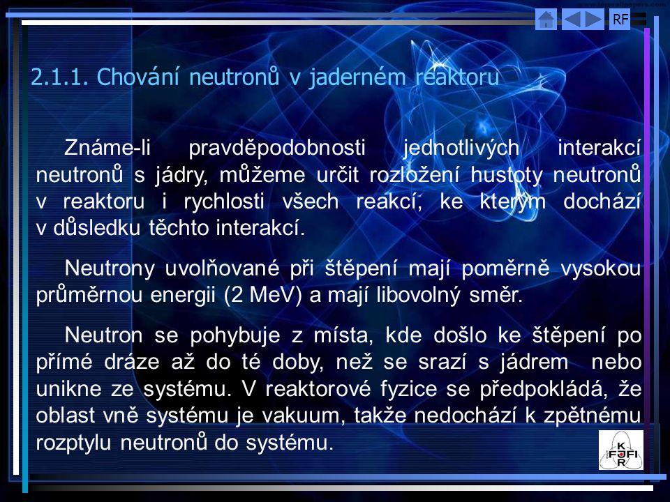 RF 2.1.1. Chov á n í neutronů v jadern é m reaktoru Známe ‑ li pravděpodobnosti jednotlivých interakcí neutron ů s jádry, m ů žeme určit rozložení hus