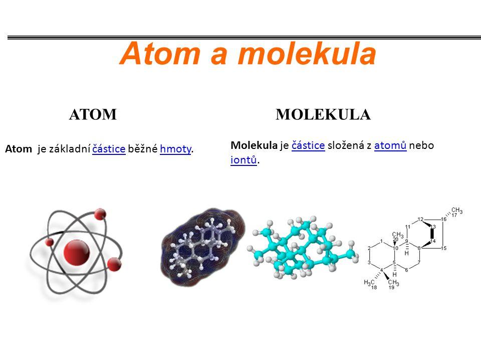 ATOMMOLEKULA Atom a molekula Molekula je částice složená z atomů nebo iontů.částiceatomů iontů Atom je základní částice běžné hmoty.částicehmoty