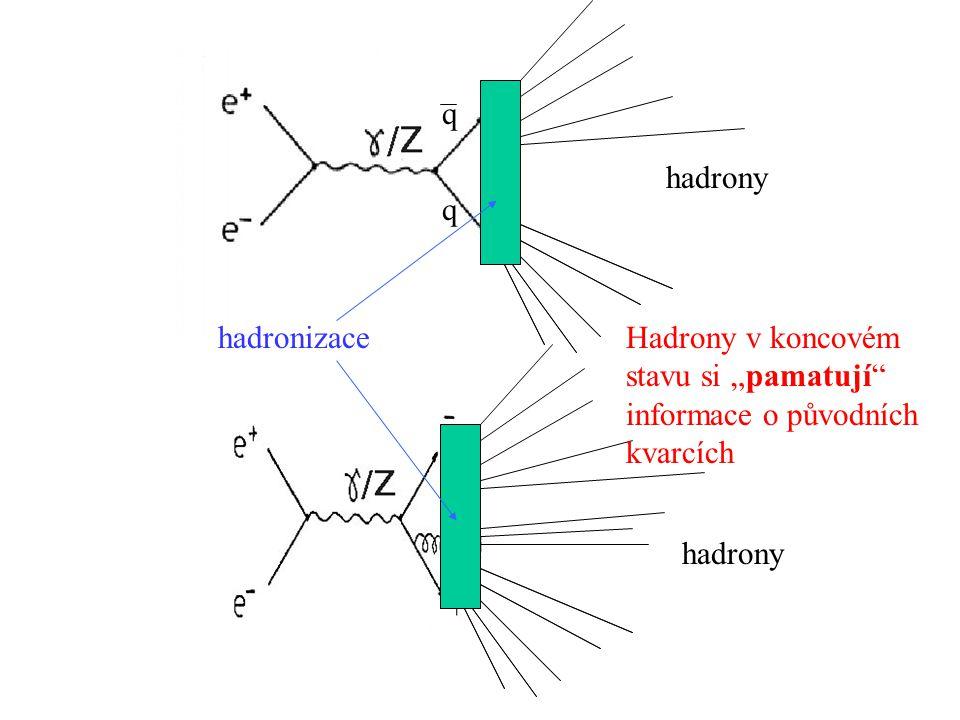 """hadronizace hadrony q q Hadrony v koncovém stavu si """"pamatují informace o původních kvarcích"""