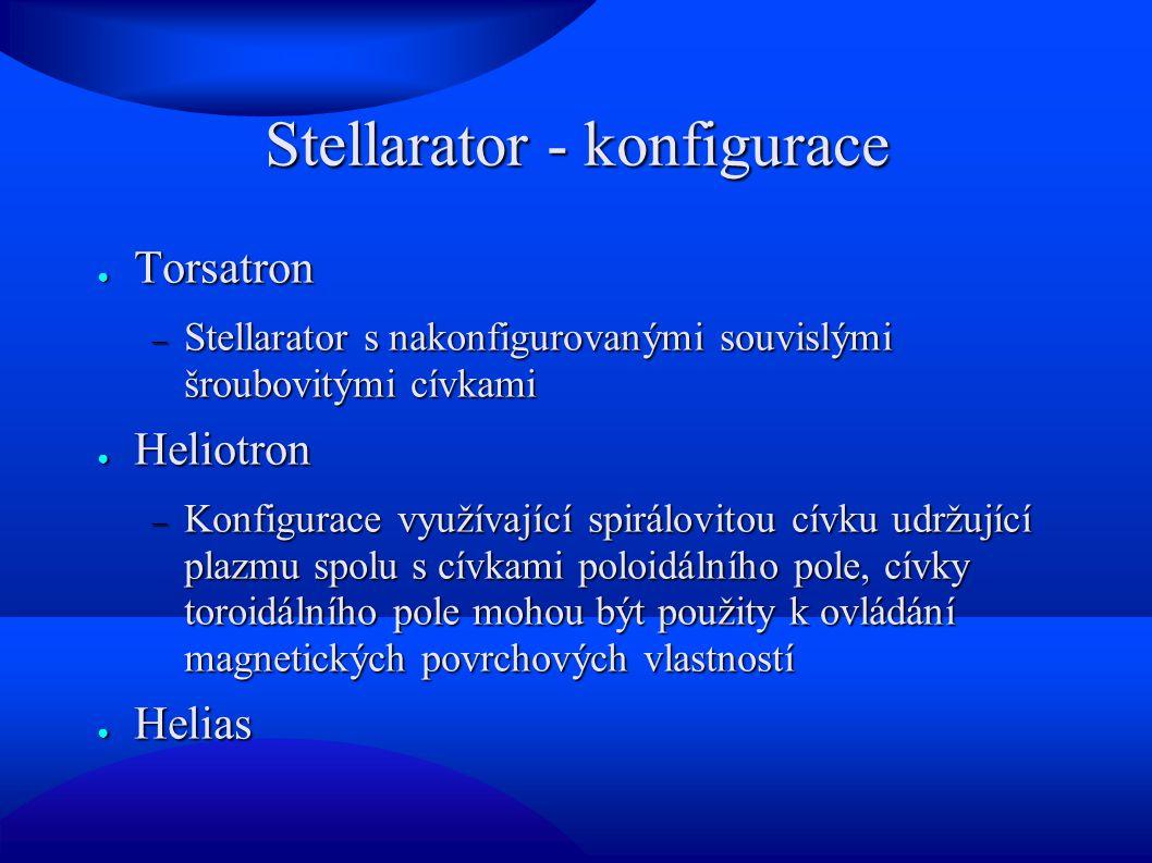 Stellarator - konfigurace ● Torsatron  Stellarator s nakonfigurovanými souvislými šroubovitými cívkami ● Heliotron  Konfigurace využívající spirálovitou cívku udržující plazmu spolu s cívkami poloidálního pole, cívky toroidálního pole mohou být použity k ovládání magnetických povrchových vlastností ● Helias