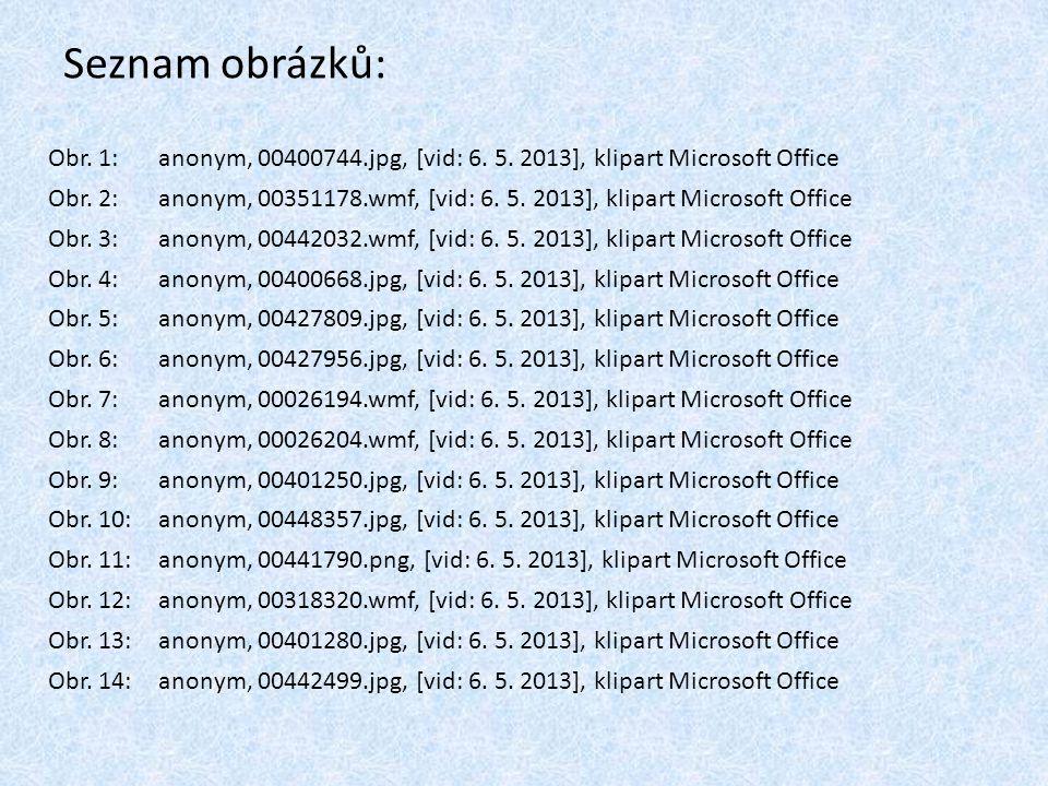 Seznam obrázků: Obr. 1: anonym, 00400744.jpg, [vid: 6. 5. 2013], klipart Microsoft Office Obr. 2: anonym, 00351178.wmf, [vid: 6. 5. 2013], klipart Mic