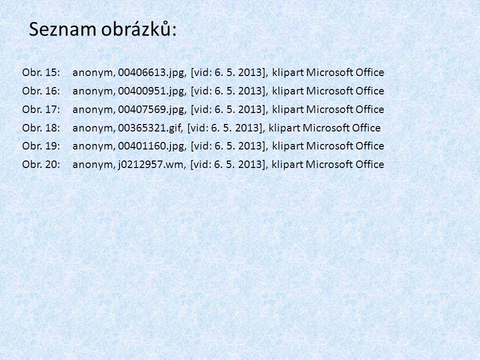 Seznam obrázků: Obr. 15: anonym, 00406613.jpg, [vid: 6. 5. 2013], klipart Microsoft Office Obr. 16: anonym, 00400951.jpg, [vid: 6. 5. 2013], klipart M