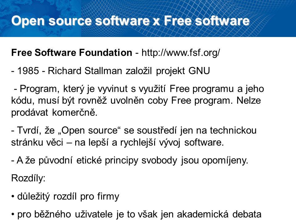Open source software x Free software Free Software Foundation - http://www.fsf.org/ - 1985 - Richard Stallman založil projekt GNU - Program, který je