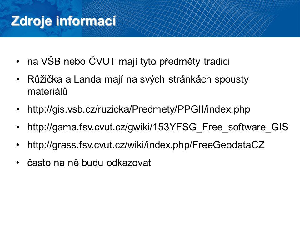 Zdroje informací manuály k programům QuantumGIS, PostGIS, GRASS GIS a dalším přednášky českých guru přes free GIS – Landa a Růžička Google, diskuzní fóra…