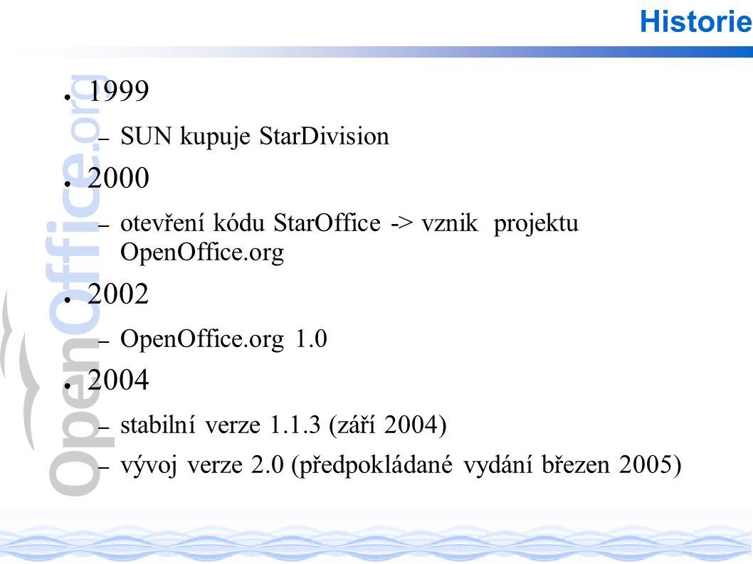 ● 1999 – SUN kupuje StarDivision ● 2000 – otevření kódu StarOffice -> vznik projektu OpenOffice.org ● 2002 – OpenOffice.org 1.0 ● 2004 – stabilní verze 1.1.3 (září 2004) – vývoj verze 2.0 (předpokládané vydání březen 2005) Historie