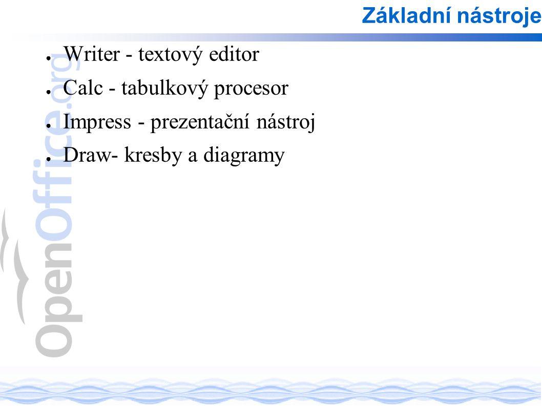 ● Writer - textový editor ● Calc - tabulkový procesor ● Impress - prezentační nástroj ● Draw- kresby a diagramy Základní nástroje