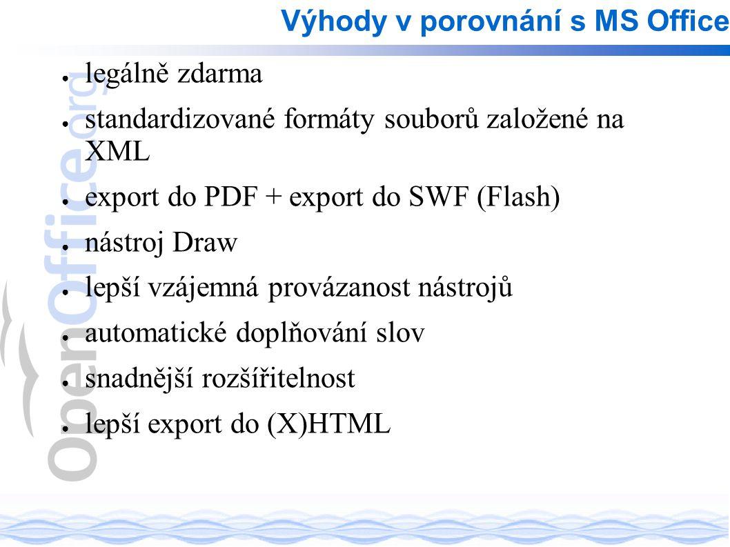 ● legálně zdarma ● standardizované formáty souborů založené na XML ● export do PDF + export do SWF (Flash) ● nástroj Draw ● lepší vzájemná provázanost nástrojů ● automatické doplňování slov ● snadnější rozšířitelnost ● lepší export do (X)HTML Výhody v porovnání s MS Office