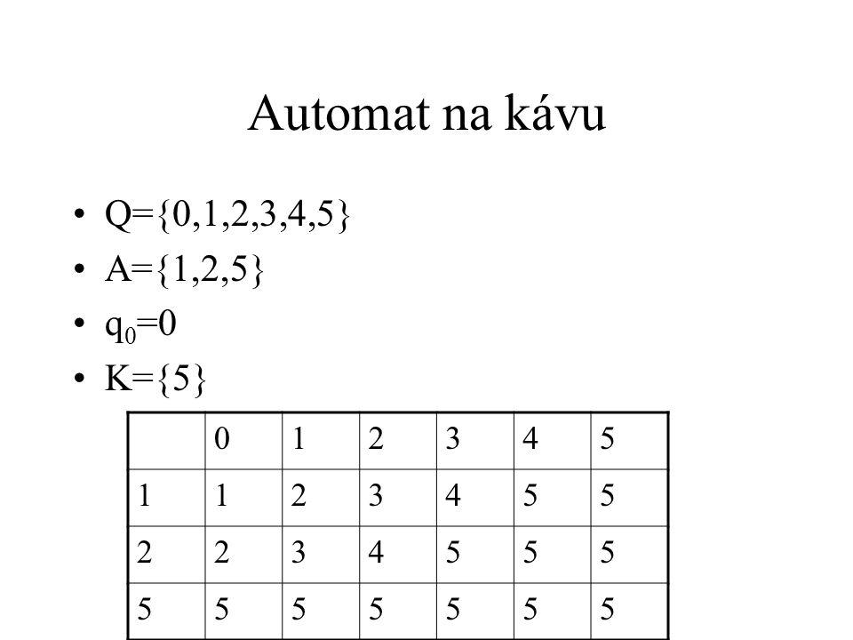 Automat na rozpoznávání jazyka Vstupní abeceda A Množina A * všech posloupností symbolů z A (slov) Jazyk J je podmnožina A * Pokud se po přečtení slova dostane do stavu z K, přijímá slovo Automat přijímá právě slova z J, rozpoznává J