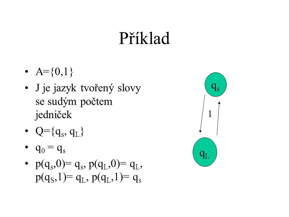 Příklad A={0,1} J je jazyk tvořený slovy se sudým počtem jedniček Q={q s, q L } q 0 = q s p(q s,0)= q s, p(q L,0)= q L, p(q S,1)= q L, p(q L,1)= q s qsqs qLqL 1