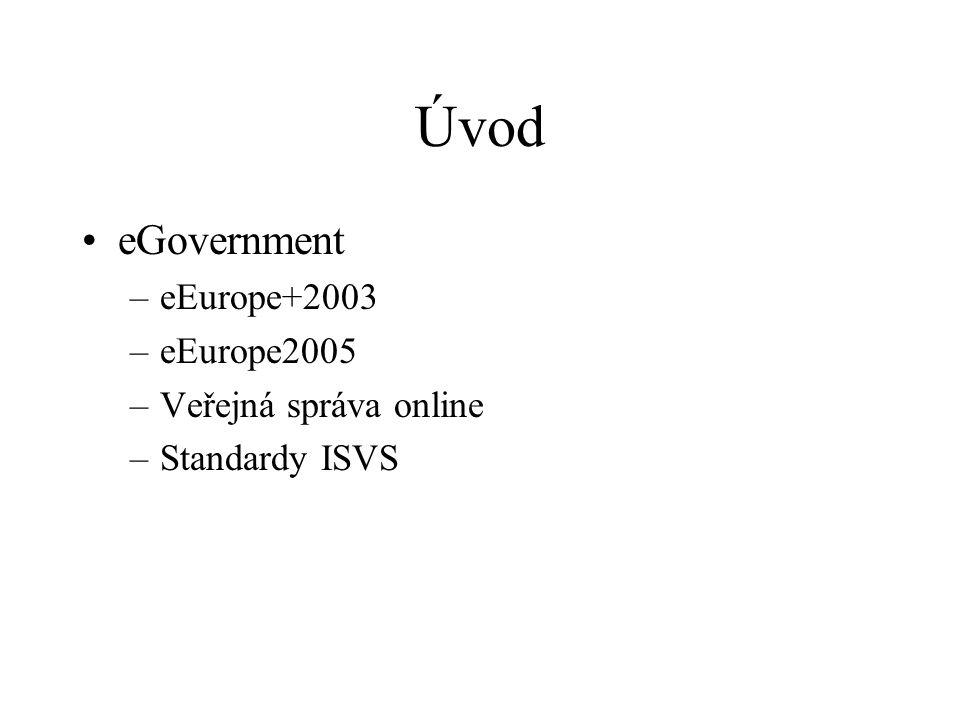 Úvod eGovernment –eEurope+2003 –eEurope2005 –Veřejná správa online –Standardy ISVS