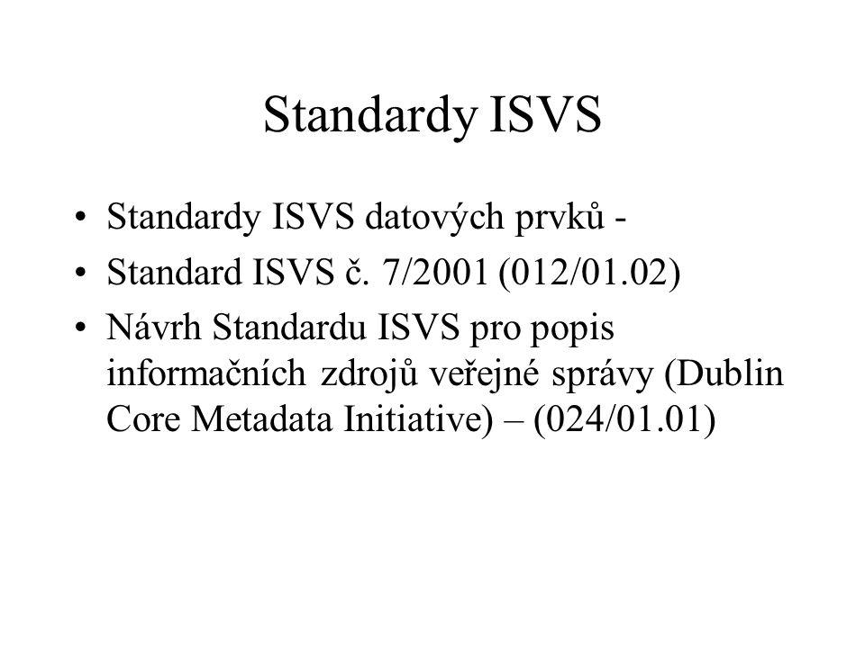 Standardy ISVS Standardy ISVS datových prvků - Standard ISVS č. 7/2001 (012/01.02) Návrh Standardu ISVS pro popis informačních zdrojů veřejné správy (