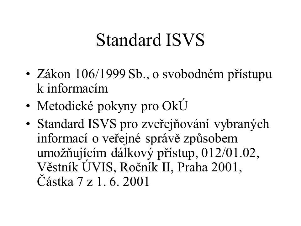 Standard ISVS Zákon 106/1999 Sb., o svobodném přístupu k informacím Metodické pokyny pro OkÚ Standard ISVS pro zveřejňování vybraných informací o veře