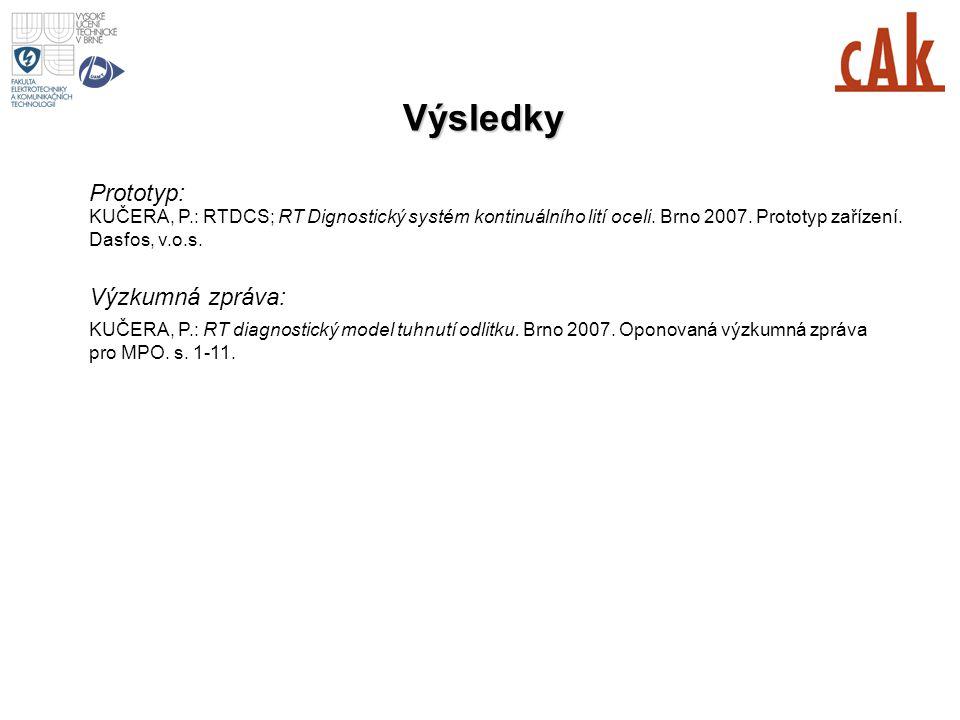 Výsledky KUČERA, P.: RTDCS; RT Dignostický systém kontinuálního lití oceli. Brno 2007. Prototyp zařízení. Dasfos, v.o.s. Prototyp: KUČERA, P.: RT diag