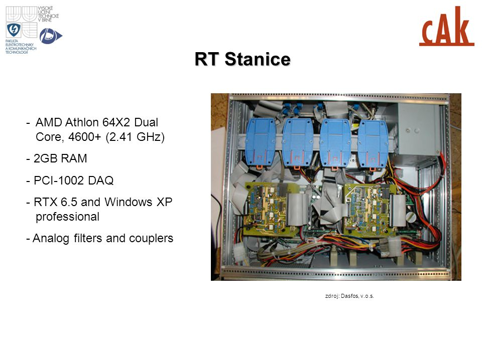 RT Stanice -AMD Athlon 64X2 Dual Core, 4600+ (2.41 GHz) - 2GB RAM - PCI-1002 DAQ - RTX 6.5 and Windows XP professional - Analog filters and couplers z