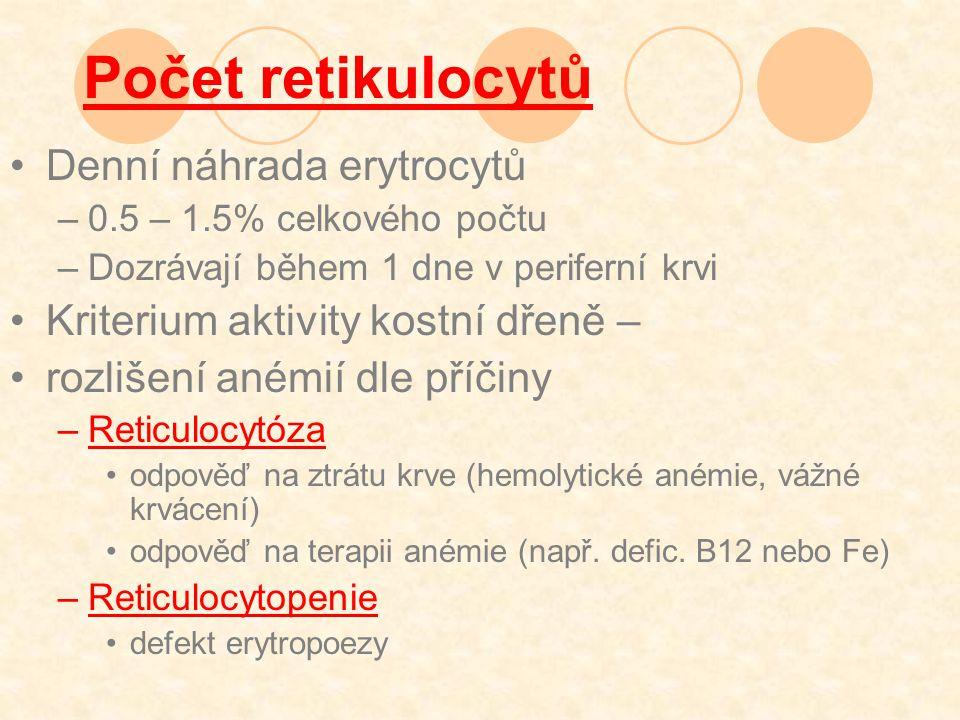 Počet retikulocytů Denní náhrada erytrocytů –0.5 – 1.5% celkového počtu –Dozrávají během 1 dne v periferní krvi Kriterium aktivity kostní dřeně – rozlišení anémií dle příčiny –Reticulocytóza odpověď na ztrátu krve (hemolytické anémie, vážné krvácení) odpověď na terapii anémie (např.