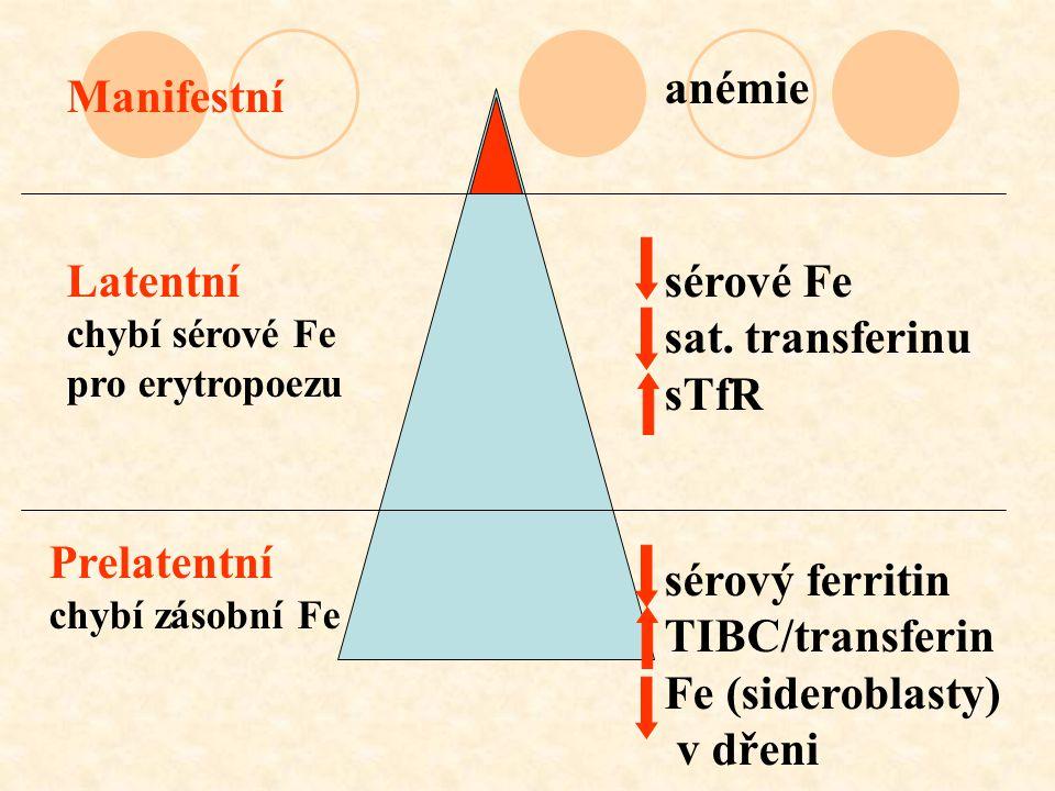 anémie Manifestní Latentní chybí sérové Fe pro erytropoezu Prelatentní chybí zásobní Fe sérové Fe sat. transferinu sTfR sérový ferritin TIBC/transferi