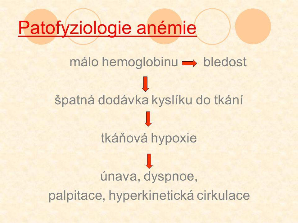 málo hemoglobinu bledost špatná dodávka kyslíku do tkání tkáňová hypoxie únava, dyspnoe, palpitace, hyperkinetická cirkulace Patofyziologie anémie
