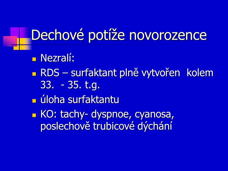 Dechové potíže novorozence Nezralí: Nezralí: RDS – surfaktant plně vytvořen kolem 33. - 35. t.g. RDS – surfaktant plně vytvořen kolem 33. - 35. t.g. ú