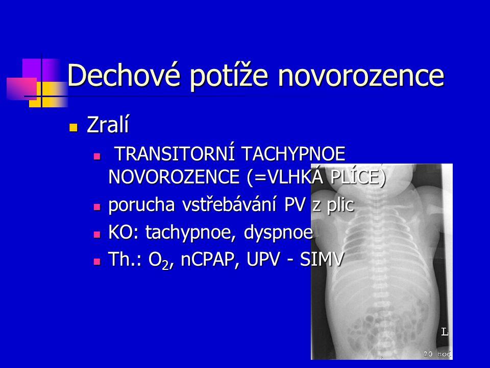 Dechové potíže novorozence Zralí Zralí TRANSITORNÍ TACHYPNOE NOVOROZENCE (=VLHKÁ PLÍCE) TRANSITORNÍ TACHYPNOE NOVOROZENCE (=VLHKÁ PLÍCE) porucha vstře